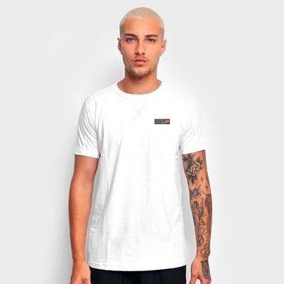 Camiseta Branca Básica Tag Laranja Dabliu