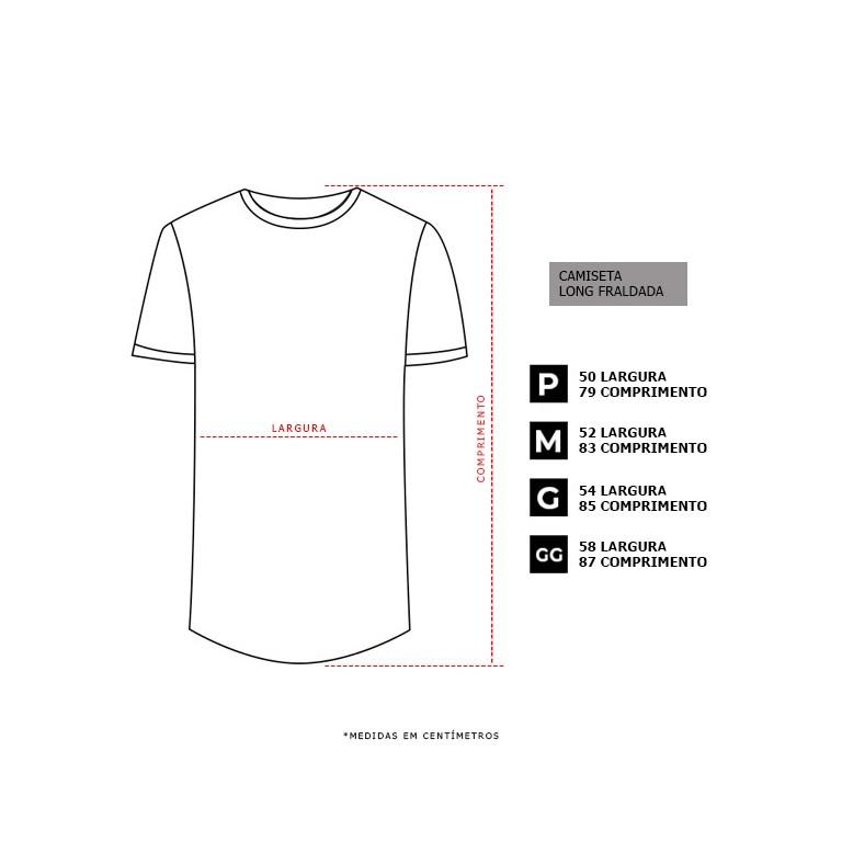 Camiseta Long Basic Preta Borracha Branca Dabliu
