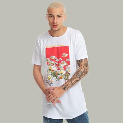 Camiseta Long Dabliu Flower White