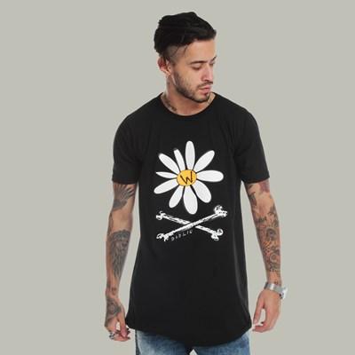 Camiseta Long Dabliu Skull Flower Black
