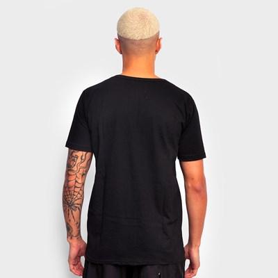 Camiseta Preta Básica Tag Laranja Dabliu